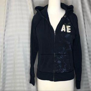 American Eagle Navy Zip Up Graphic Hoodie Medium